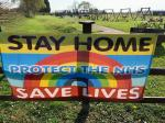 Image: Stay Home Covid Banner at Pinder Park 2020